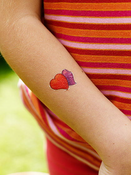 Fake tattoo, hearts.